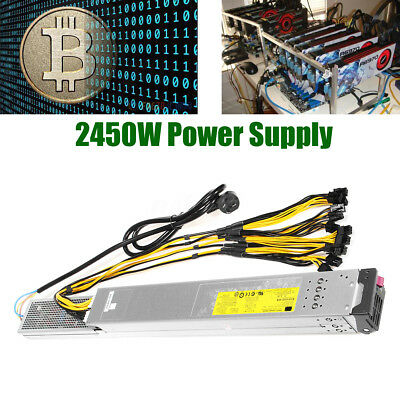 2450W Antminer Power Supply For S9 T9 S7 L3 w Complete GPU PCI-e Ethereum Mining