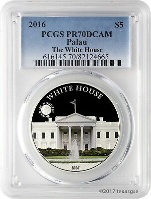 2016 $5 Palau World of Wonders The White House Silver Colored Coin PCGSPR70DCAM