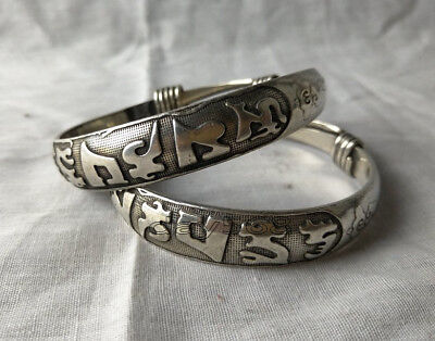 Collection decorative Tibetan silver bracelet hand carving  ancient script