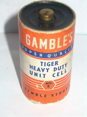 Gambles Tiger Heavy Duty D Size Flashlight Battery Antique Toy & Radio Go With