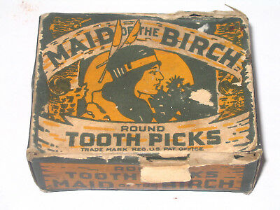 Maid of the Birch EARLY Tooth Picks Box with Native Americn Indian Princess