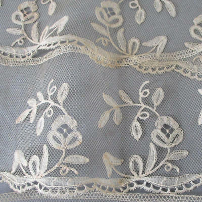 "Antique Handmade Creamy French BRUSSELS Bobbin LACE Trim FLOWERS 3"" W X 54"""