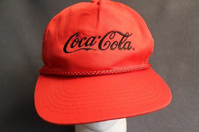 Vintage 80s Tall Coca-Cola Coke Adustable Red Cap Hat Corded San Sun Black Logo