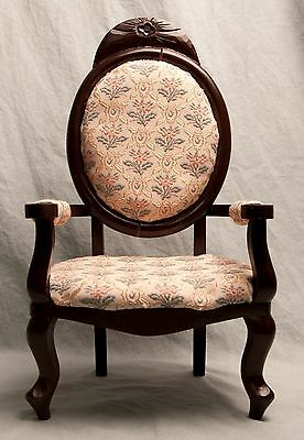 Old Fashioned Doll Chair Victorian Wood Floral Print Fits American Girl Toy