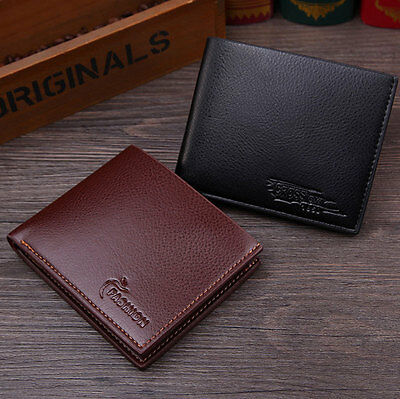 Men's Blocking Leather Wallet Slim Outer Card Slot Thin Bifold Brown