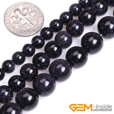 Blue Sandstone Gemstone Round Loose Spacer Beads For Jewelry Making Strand 15""