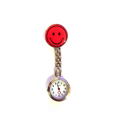 1PC Red Smile Design Nurse Doctor Pocket Watch Clothes Brooch Clip Accessory