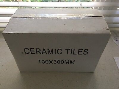 40 White Gloss Ceramic Tiles (100 X 300mm)