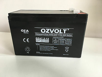 7.2Ah 7 Amp 12 Volt Alarm Battery Spotlight Agm Sla Ups Rechargeable Ozvolt