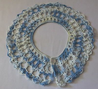 Vtg Hand crochet Lace Collar Variegated Blue 1960's Excellent