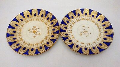 Pair of Antique Davenport China Cobalt Blue & Gold Geometric Design Saucers