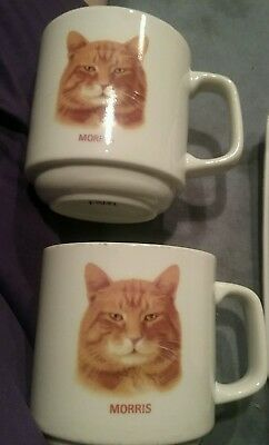 Set of 2 Vintage Morris The Cat Coffee Mugs By Papel Excellent Condition