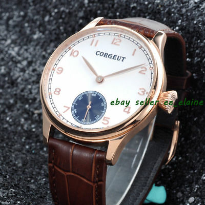 Corgeut 44mm Mens Mechanical Hand Winding Watches White Dial Rosegold Case 02