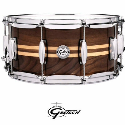 Gretsch Walnut Shell 14 x 65 inch Snare Drum With Maple Inlay