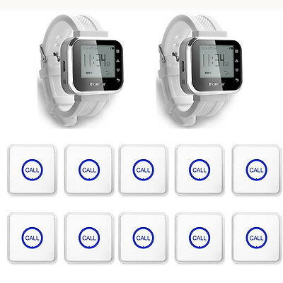 Hot Sale White Waiter Service Calling System Watch Pager Wireless Transmitter