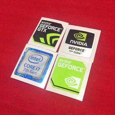 4 Sticker Combo Nvidia GEFORCE GTX Intel i7/i5/i3 Case Badge 7th/6th/4th/3rd Gen