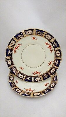 Rare Antique Osborne China Old Imari Style Flow Blue Pair of Cake Plates 9 1/4""