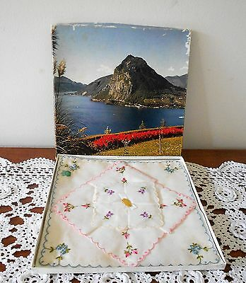 Vintage Boxed Set Of 3 X Ladies Hankies Swiss Cotton In Original Box