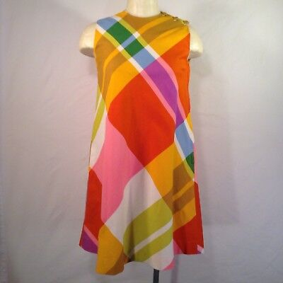 Vintage 60's Bill Atkinson Mod Psychedelic Plaid A Line Shift Dress Size Medium