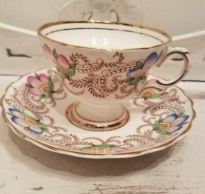 Lefton teacup and saucer blue pink flowers with gold embellishment