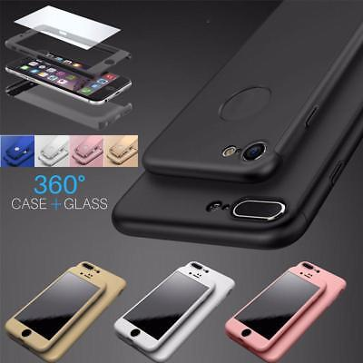 360° Hybrid Acrylic Hard Case Cover + Tempered Glass Protector For iPhone 8 plus