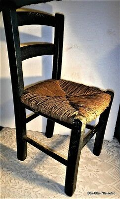 Vintage Child's Rush Seated Chair - Rustic and Well Used