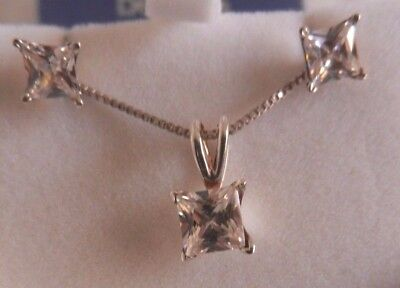Silver 925 Bling Crystal Or Cz Necklace Chain And Earrings Set Gr8 Cond
