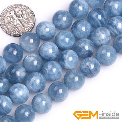 Natural Blue Aquamarine Gemstone Round Loose Spacer Beads For Jewelry Making 15""
