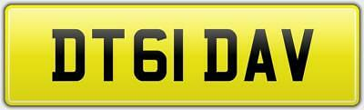 Dave T Neat Reg Number Plate Dt61 Dav All Fees Paid - David Thomas Dt Taylor Etc