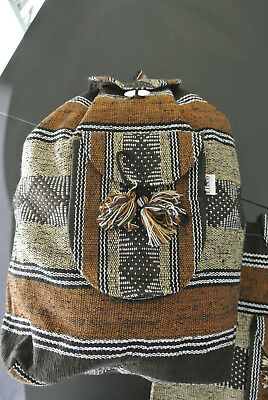 Beach Mexican Hippie Baja Tote Ethnic Backpack Indian Bag, Blanket, purse Brown