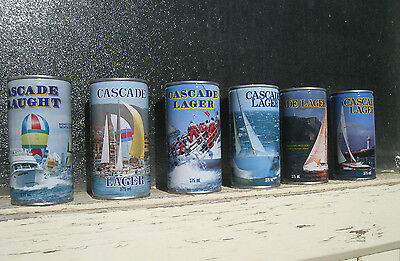 rETRO 1980s BEER cans CASCADE LAGER 1980s Sydney HOBART yacht RACE set 6 CANS