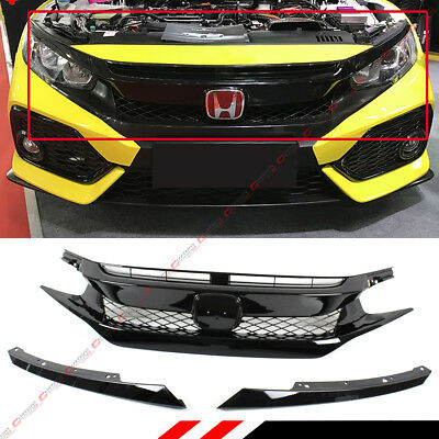 For 16-18 Honda Civic 10Th Gen Fk8 Type-R Style Gloss Blk Mesh Front Hood Grille