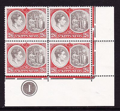ST KITTS 1938-50 2/6d BLACK & SCARLET CHALKY PAPER IN PLATE BLOCK SG 76a MINT.