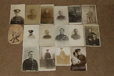 Job lot collection WW1 GREAT WAR photographs of soldiers in uniform c1914 - 1918