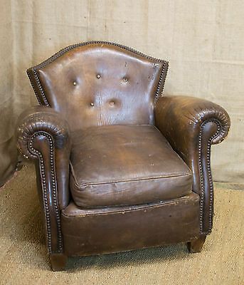 Antique French Club Chair, Brown Leather button back, armchair,19th Century