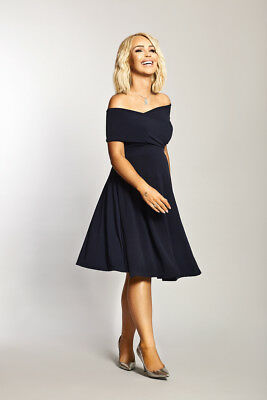 Katie Piper Maternity Navy Bardot Twist Front Detailed Dress  Want That Trend