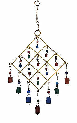 4 X Gold Metal Wind Chime w Coloured Cow Bells & Glass Beads, Feng Shui, Hippy