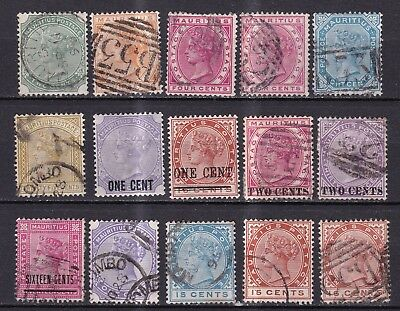 Mauritius 1883/93 collection of 15 mint hinged and used