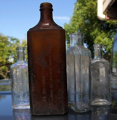 Collection of 1930-40s Embossed Chemists Bottles