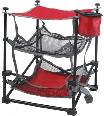 Folding End Table Cup Holder Mesh Basket Shelf Storage Campsite Camping Outdoor