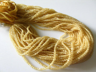 "5 Strands 2.5mm Natural Yellow Calcite Faceted Rondelles Beads 13"" Each GDS495/1"