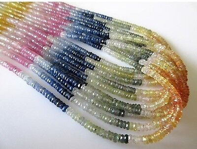 3mm Multi Sapphire Faceted Tyre Rondelle Beads 17 Inch Strand GDS686