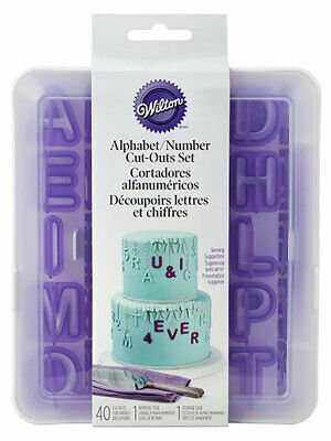 Wilton Alphabet & Number Cutters Cut-Outs in Storage Case Birthdays Celebrations