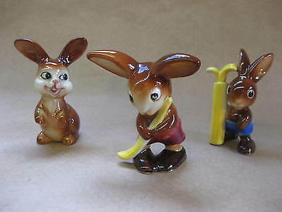 3 Vintage Goebel Rabbit figures ~ Hockey Sticks or Golf Clubs
