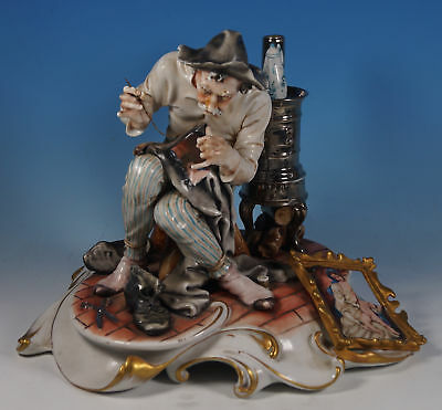 Capodimonte IPA Porcelain Man Repairing Trousers with Painting Patch Cappé Style