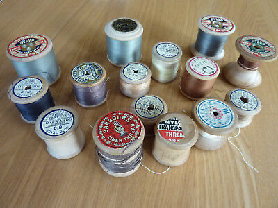 Vintage wooden cotton reels