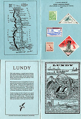 LUNDY ISLAND SOUVENIR CARD FOLDER FROM THE 1950's