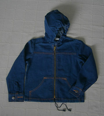 Vintage Denim Jacket - Age 12 - Boy/Girl - Navy Denim with Hood - Zip-up - New