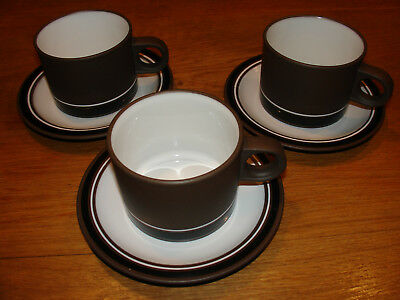 Hornsea Pottery Contrast three cups and saucers