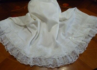 Vintage St Michael White Silky Nylon Half Slip Double Layer Lace Hem Size 10-12